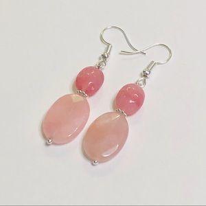 Pink Rose Quartz & Pressed Czech Glass Earrings
